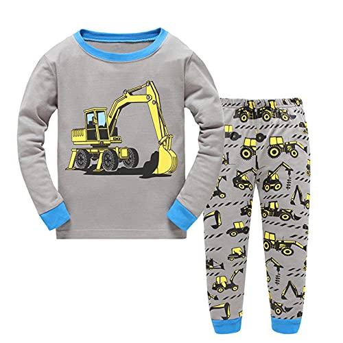 MingLaken Jungen Schlafanzug| Kinder Pyjama |Jungen Lang 100% Baumwolle| Bagger |Feuerwehr| Dinosaurier| Rakete Nachtwäsche | Zweiteiliger Schlafanzug 92 98 104 110 116 122 (Bagger-Grau,110)