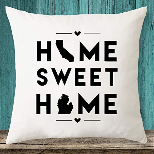 California & Michigan Home Sweet Home State Maps - Funda de almohada personalizada