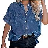 Women's Jean Button Up Shirt Summer Short Sleeve Loose Double Pockets Tops Fashion Lapel Denim Cardigan Blouses
