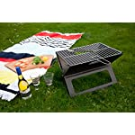Notebook Folding Grill - Portable Picnic BBQ with Chrome Plated Cooking Grid (Black) 5