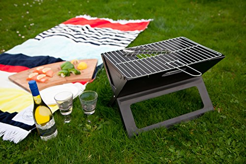 Notebook Folding Grill - Portable Picnic BBQ with Chrome Plated Cooking Grid (Black) 1