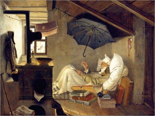 Leinwandbild 90 x 70 cm: Der Arme Poet von Carl Spitzweg - fertiges Wandbild, Bild auf Keilrahmen,...