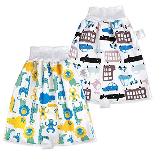 2 Paquets de Jupe à Couches pour bébé, Culottes d'apprentissage lavables, Jupe d'entraînement pour bébé garçon, Couches lavables réutilisables pour la Nuit,4-8 ans,Voiture Multicolore