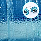 3D New Blue Watercube Shower Curtain and 12 Acrylic Crystal Rhinestones Decorative Shower Curtain Hooks