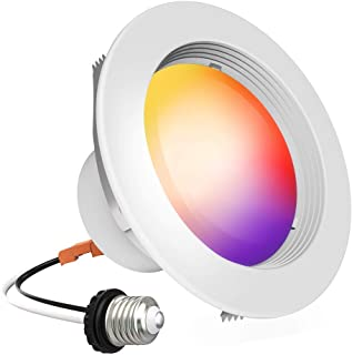 iLintek Smart Recessed Lighting - 4 Inch Smart LED Downlight Bluetooth Ceiling Light Color Changing Can Light Music Sync Timing Function 9W(65W Equivalent) 810lm (BLE Mesh 4in)