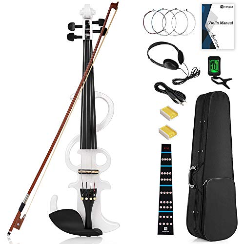 Vangoa VVE-21WH Electric Violin 4/4 Full Size, White Solid Wood Silent Violin with User Manual, Note Sticker, Audio Cable and Rosin for Beginners adults Teens
