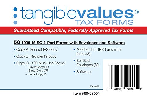 1099 Misc Tax Forms 2019 - Tangible Values 4-Part Kit with Envelopes - TPF Software Included, 50 Pack Photo #6