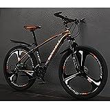 Bicicleta De Montaña Para Hombre, Suspensión Delantera, 21/24/27-velocidades, Ruedas De 26 Pulgadas, Marco De Aluminio Portátil Montaña Bicicleta De Montaña Sin Resbalones (Size:21speed,Color:naranja)