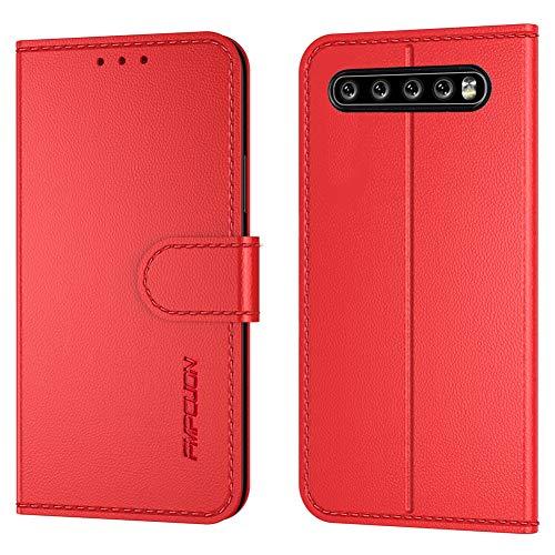 FMPC Handyhülle Kompatibel mit LG V60 ThinQ 5G Hülle, PU Lederhülle Flip Hülle Wallet Cover für LG V60 ThinQ 5G Tasche Schutzhülle [Kartensteckplätze][Magnetic Closure Snap], Rot