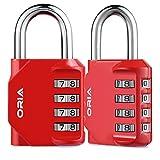 【Nueva Versión】ORIA 2 Pcs Candado de Combinación, Candados Combinación de Seguridad con Combinaciones de 4 Dígitos Reajustable, Ideal para Locker de Gimnasia Escolar, Verja,Mochila, etc - Rojo