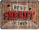Nostalgic-Art Retro Blechschild Best Sheriff in Town – Geschenk-Idee für Western-Fans, aus Metall, Vintage-Design zur Dekoration, 15 x 20 cm