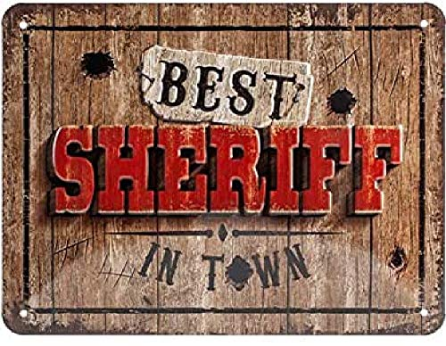 Nostalgic-Art Cartel de Chapa Retro Best Sheriff in Town – Idea de Regalo para los Aficionados al Western, metálico, Diseño Vintage, 15 x 20 cm