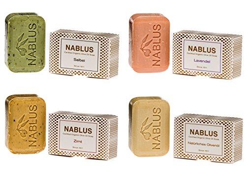 Nablus Soap - Le Savon Nablus À L'Huile D'Olive Paquet De 4 Savon Lavande, Sauge Cannelle Naturelle, idéal pour les peaux sensibles, Hypo-allergenique