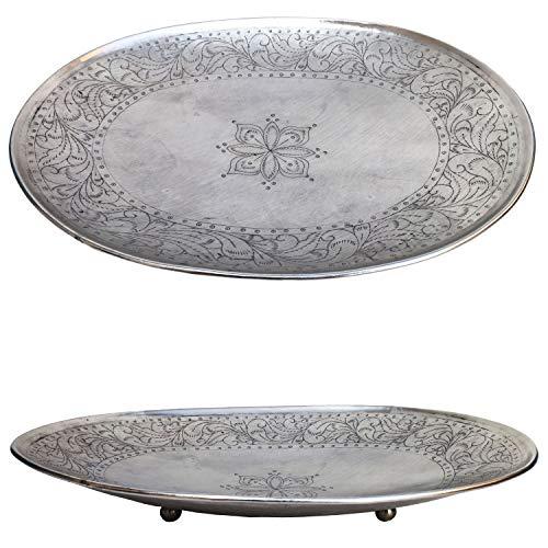 Orientalisches rundes Tablett Schale aus Metall Bombay 42cm groß Silber | Orient Dekoschale mit hoher Rand | Marokkanisches Serviertablett Oval | Orientalische Silberne Deko auf dem gedeckten Tisch