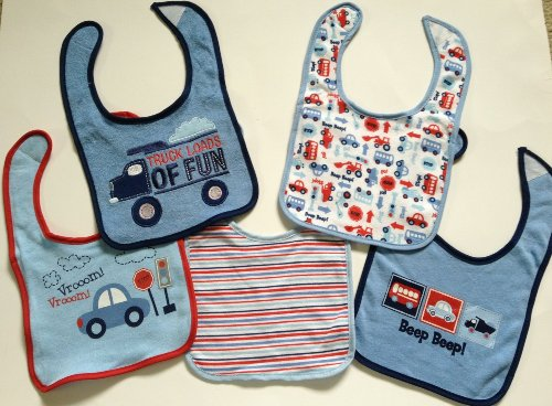 "Cutie Pie Baby 5 Pack Baby Bibs ""Truck Loads of FUn"" Bib Set Car Truck Stripe"