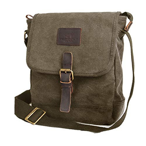 Canvas Messenger Bag TOPWOLF Small Crossbody Bag Casual Travel Working Tools Bag Shoulder Bag Hold Phone Handset Anti Theft