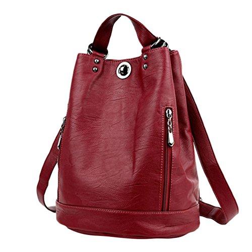 Xinwcang Mode Damen Rucksack PU Leder Umhängetasche & Handtasche Wasserdicht Casual Schulranzen Tasche für Reisen Shopping Camping Party Urlaub WeinRot