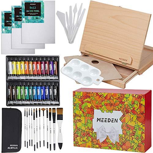 MEEDEN 46 Pcs Easel Painting Set - 24 Colors Acrylic Paints Set, 3pcs 9' x 12' Canvas Panels, 12 Artist Brushes Set, Wood Palette, Pefect for Childern, Teens, Beginners and Professinol Artistis