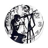 Reloj de pared decorativo de Pesadilla antes de Navidad Jack y Sally silencioso reloj digital sin tictac, funciona con pilas, redondo