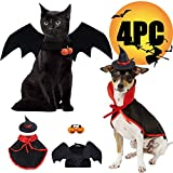 Pet Halloween Costumes, Funny Small Dog & Cat Cosplay Costume 4 PCS with Vampire Cloak Wizard Hat Bat Wings Pumpkin Bell for Black Halloween Night Bloody Zombie Party Pumpkin Easter Kitten Costumes