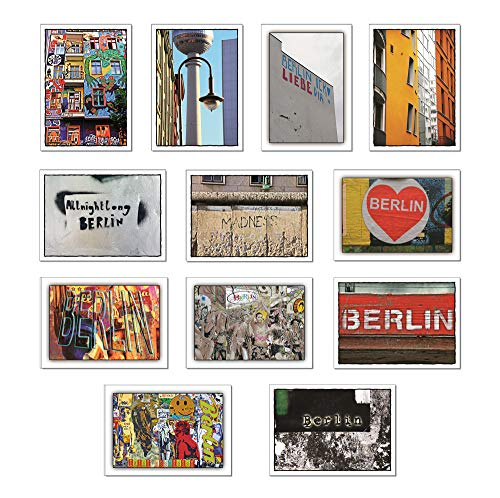 tom bäcker Berlin II - Postkarten Set - besondere Karten Konvolut - 12 Stück Ansichtskarten Fernsehturm - Deko - Typografie - Currywurst - Schöner schenken - Streetart