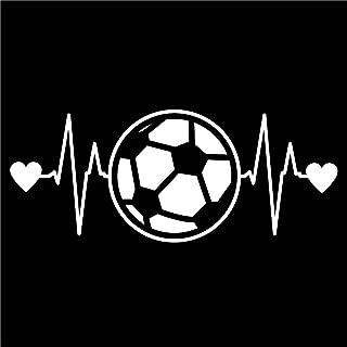 Soccer Ball Heartbeat Vinyl Decal Sticker | Cars Trucks Vans Walls Laptops Cups | White | 7.5 X 3 Inch | KCD1210