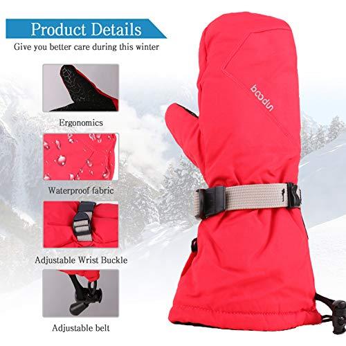 LISM Unisex adult Ski Waterproof Windproof Warm Mittens Thermal Breathable Anti-slip Gloves, Red, S