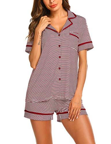 Pyjama Set Damen Schlafanzug Kurzarm Gestreift Sleepwear Zweiteilige Baumwolle Shorty Nachtwäsche mit Knöpfen für Sommer -S