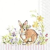 IHR - Tovaglioli di carta stampati a 3 veli, confezione da 20, dimensioni 33 cm x 33 cm, motivo: Love Bunny Light Rose