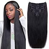 Straight Human Hair Clip in Hair Extensions for Black Women 100% Unprocessed Full Head Brazilian Virgin Hair Natural Black Color ,8/Pcs with 18Clips,120 Gram (18inch, Straight hair)