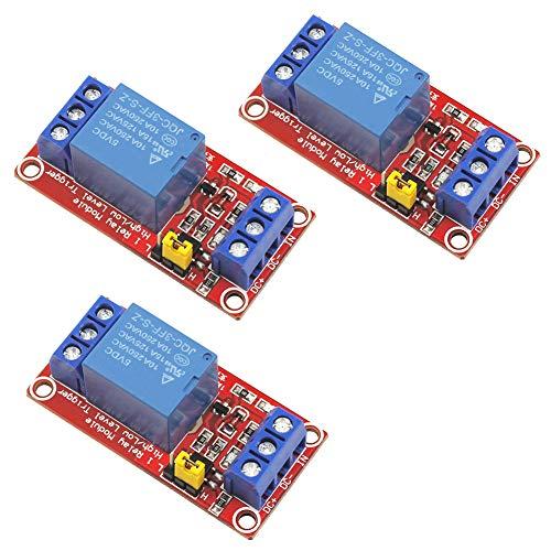 WayinTop 3pcs Módulo de Relé 5V 1 Canales High/Low Level Trigger con Optoacoplador para Arduino Arm PIC AVR DSP