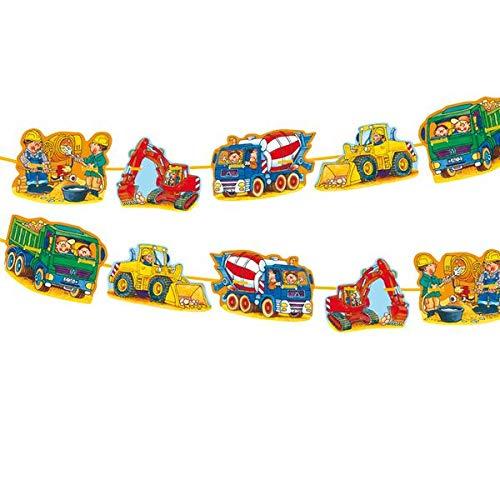 Lutz Mauder Partykette * Bagger & Baustelle * als Deko für Kindergeburtstag oder Motto-Party // Geburtstag Party Bob Bauarbeiter Baumeister Girlande Banner