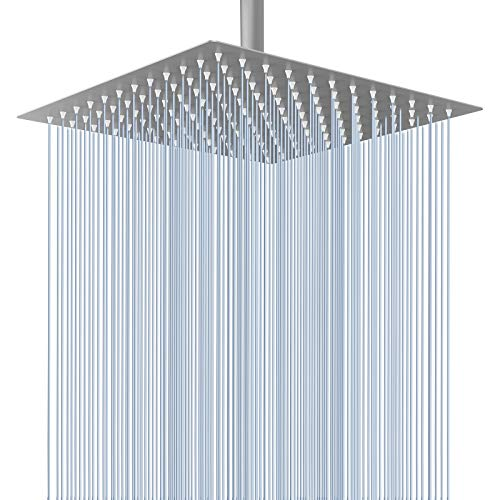 Voolan Rain Shower Head - California Compliant 1.8 GPM - 12 Inches Large Rainfall Shower Head Made of 304 Stainless Steel - Perfect Replacement For Your Bathroom Shower Heads (Brushed Nickel)