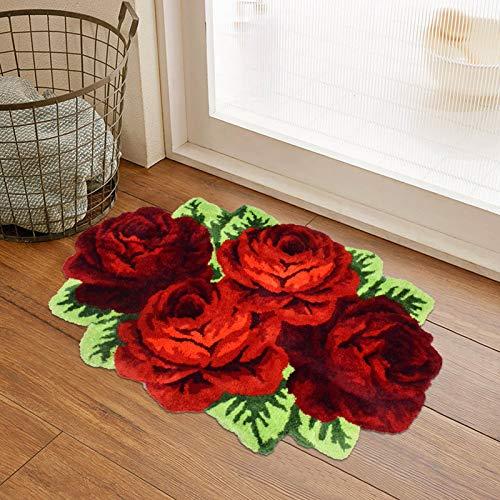 USTIDE Red Roses Rug, Red Bathroom Rug, Handmade Bathmat Floral Rug, Rugs for Bedroom, Thick & Washable Non-Slip Floor Carpets, 31.4X41.3Inch