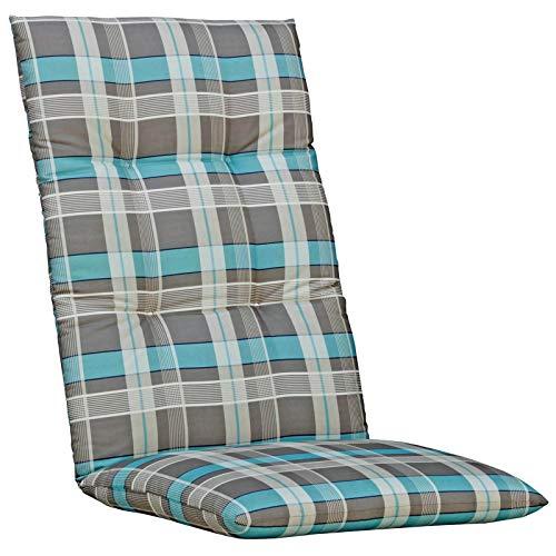 Kettler Sesselauflage für Hochlehner - komfortable Stuhlauflage mit Kreisheftung und Karomuster - 120 cm hohe Polsterauflage aus Baumwolle - türkis & grau - 4 Stück