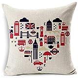 ACYKM Funda Cojine Funda Almohada Funda de cojín de Estilo británico sofá de Inglaterra y Londres Funda de Almohada Decorativa para Coche Funda de Almohada de algodón y Lino para decoración del hogar