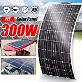 HUAJIN Semi-Flexible Solar Panel 300W 18V Monocrystalline Solar Charger for DIY Module Cable Outdoor Car RV Vehicle Marine Boat Home Off Grid System Waterproof