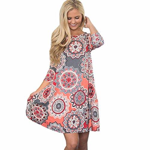 Litetao Womens Girls Bohemian Dress Summer Vintage Boho Party Beach Floral Maxi Dress (Pink, L)
