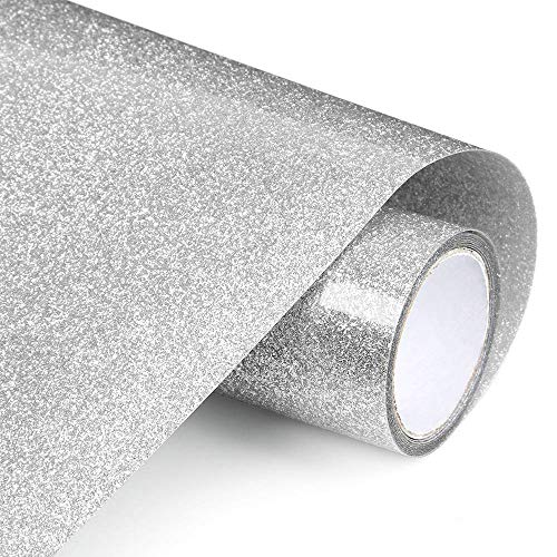 HeloHo Silver Glitter Heat Transfer Vinyl 12in x5ft Roll Iron on Vinyl HTV Bundle DIY Heat Press Craft for T-Shirt Clothing Garment Bags