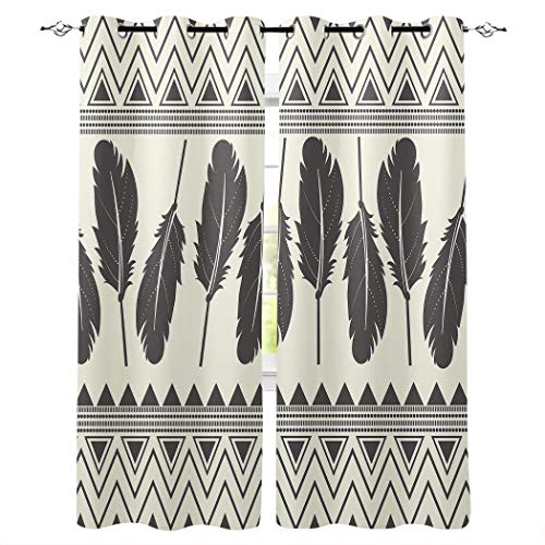 Kitchen Blackout Curtains Panels Window Treatments for Living Room Bedroom Insulated Grommet Window Curtains and Drapes,Decorative Aztec Style Feather Design Print 2 Panels 52x90 Inch