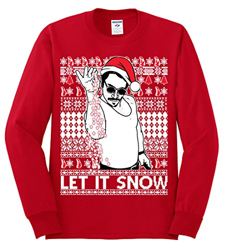 Salt Bae Let It Snow | Mens Ugly Christmas Long Sleeve Tee Graphic T-Shirt, Red, Large