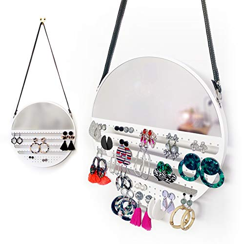 Earring Organizer Hanging with Mirror, 12 inches - Unique Earring Organizer and Holder for Studs, Hooks - Decorative Earring Storage Earring Display Wooden Earing Holder Organizer