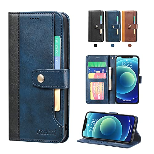 """ozecui Wallet Case for iPhone 12 Pro Max 5G 6.7"""", Card Holder PU Leather Flip Folio Cover Card Slot, Kickstand Feature Shockproof TPU Interior Case Compatible with iPhone 12 Pro Max 6.7-inch, Blue"""
