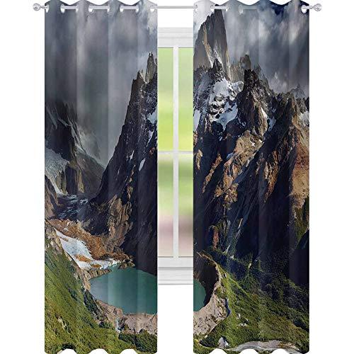 YUAZHOQI Paisaje Aislamiento Térmico Cortina de Montaje de Fitz Roy y Laguna Torre Los Glaciares Parque Nacional Patagonia Argentina 132 cm x 213 cm Decoración Cortinas Multicolor