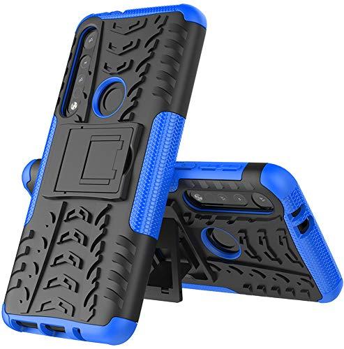 Yiakeng Handyhülle für Moto G8 Play Hülle, Moto One Macro Hülle, Doppelschicht Stoßfest Schlank Silikon 360 Grad Schutz Mit Ständer für Motorola Moto G8 Play (Blau)