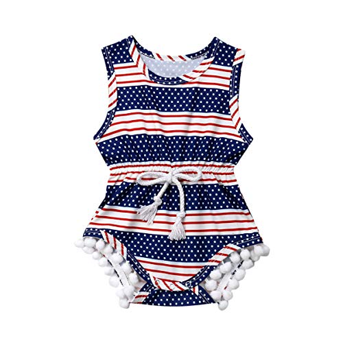 Merqwadd IToddler Baby Boys Girls 4th of July Outfit USA Flag Tassle Romper Bodysuit Jumpsuit Summer Sunsuit Clothes (4th of July, 6-12 Months)