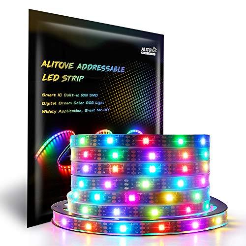 Amazon.com - 16.4ft WS2812B Individually Addressable LED Strip Light 5050 RGB SMD 150 Pixels Waterproof 5V DC