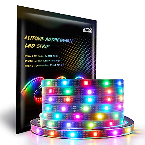 Amazon.com - 16.4ft WS2812B Individually Addressable LED Strip Light 5050 RGB SMD 150 Pixels Waterproof 5V DC