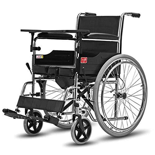 TWL-Wheelchair Rollstuhl-Klapptisch mit Toilette Multifunktionsrollstuhl Alter Roller, Vollreifen, 100x63x90cm