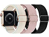 Swhatty Stretchy Nylon Solo Loop Bands Compatible with Apple Watch 44mm 40mm 42mm 38mm, Adjustable Stretch Braided Sport Elastics Women Men Strap for iWatch Series 6/5/4/3/2/1 SE (Pack E, 38mm 40mm)